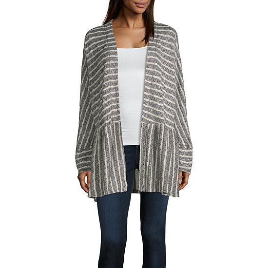 Artesia Womens Long Sleeve Open Front Striped Cardigan