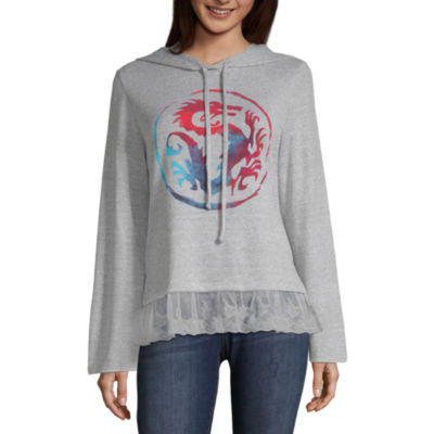 Disney Princess Design Challenge Long Sleeve Knit Hoodie-Juniors