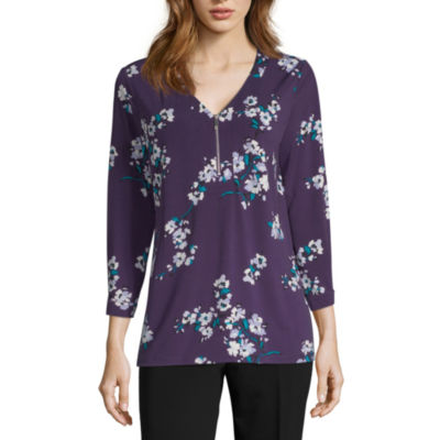 Liz Claiborne Womens V Neck 3/4 Sleeve Knit Blouse