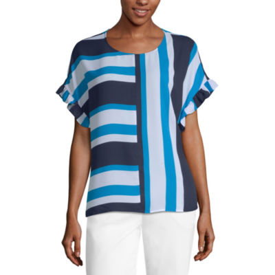 Worthington Short Sleeve Scoop Neck Woven Blouse