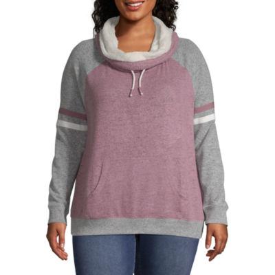Funnel Neck Sweatshirt - Juniors Plus