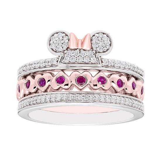 Disney Classics 1/4 CT. T.W. Genuine Diamond 14K Rose Gold Over Silver Sterling Silver Heart Minnie Mouse 3-pc. Jewelry Set