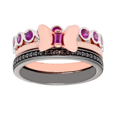 Disney Classics 1/8 CT. T.W. Genuine Red Ruby 18K Rose Gold Over Silver Sterling Silver Minnie Mouse 3-pc. Jewelry Set