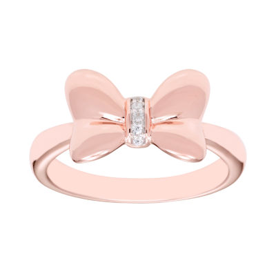 Disney Classics Womens Diamond Accent Genuine Diamond 14K Rose Gold Over Silver Minnie Mouse Cocktail Ring