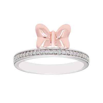 Disney Classics Womens 1/8 CT. T.W. Genuine Diamond 14K Rose Gold Over Silver Minnie Mouse Band