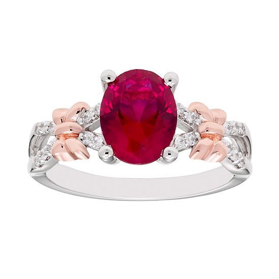 Disney Classics Womens 1/10 CT. T.W. Lab Created Red Ruby 14K Rose Gold Over Silver Minnie Mouse Cocktail Ring