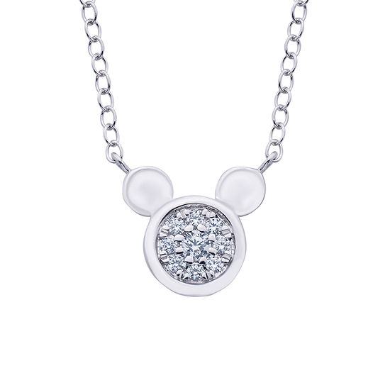 Disney Classics Womens 1/10 CT. T.W. Genuine Diamond Sterling Silver Mickey Mouse Pendant Necklace