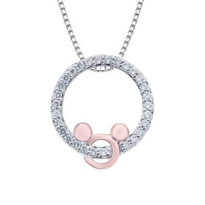 Disney Classics Womens 1/7 CT. T.W. Genuine Diamond 14K Rose Gold Over Silver Mickey Mouse Pendant