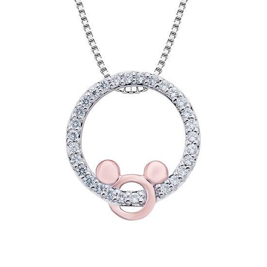 cc7030e87e2f8 Disney Classics Womens 1 7 CT. T.W. Genuine Diamond 14K Rose Gold Over  Silver Mickey Mouse Pendant - JCPenney