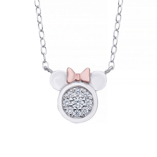 Disney Classics Womens 1/10 CT. T.W. Genuine Diamond 14K Rose Gold Over Silver Minnie Mouse Pendant Necklace