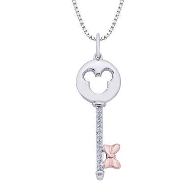 Disney Classics Womens Diamond Accent Genuine Diamond 14K Rose Gold Over Silver Pendant