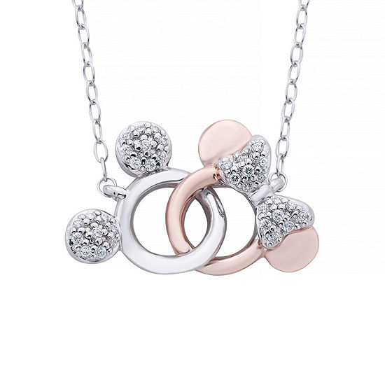 Disney Classics 1/10 CT. T.W. Genuine Diamond Sterling Silver & 14K Rose Gold Over Silver Mickey Mouse Pendant Necklace