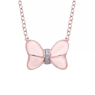 Disney Classics Womens Diamond Accent Genuine Diamond Minnie Mouse Pendant