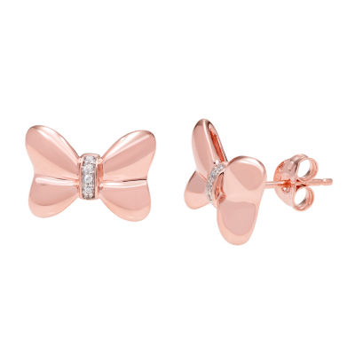 Disney Classics Diamond Accent Genuine Diamond 14K Rose Gold Over Silver 9.4mm Minnie Mouse Stud Earrings