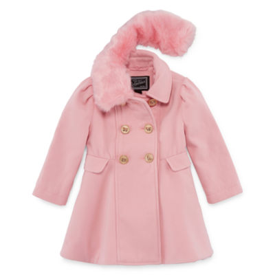S Rothschild Double Breasted Coat with Removable Faux-Fur Collar - Toddler Girls