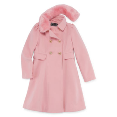 S Rothschild Double Breasted Coat with Removable Faux-Fur Collar- Girls