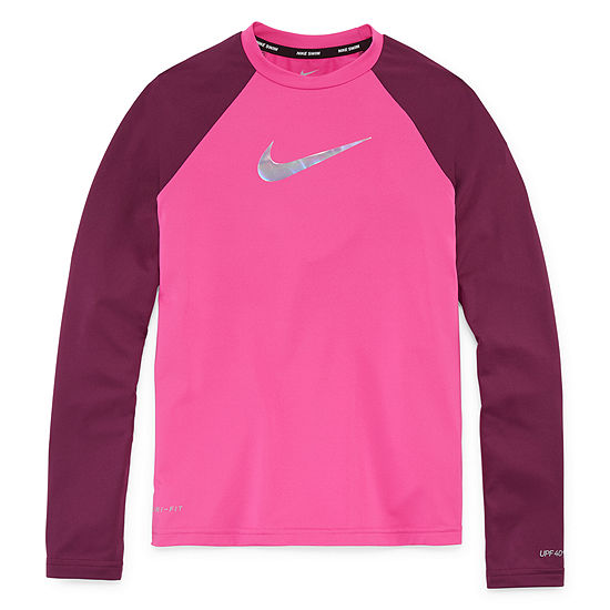 Nike Girls Logo Rash Guard - Big Kid