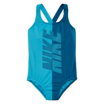Nike Logo One Piece Swimsuit Big Kid Girls