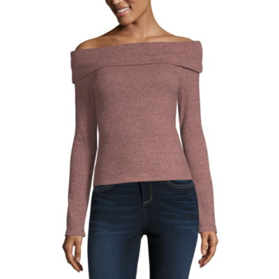 Cut And Paste Long Sleeve Straight Neck Knit Blouse-Juniors