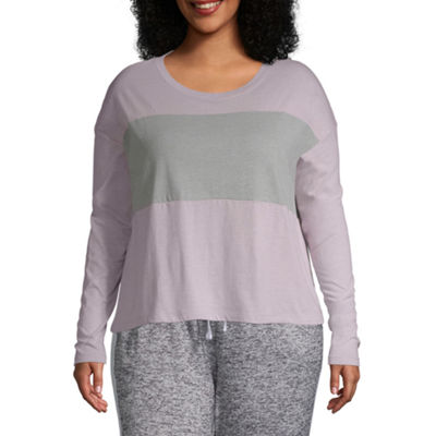 Flirtitude Long Sleeve Scoop Neck T-Shirt-Womens Juniors Plus