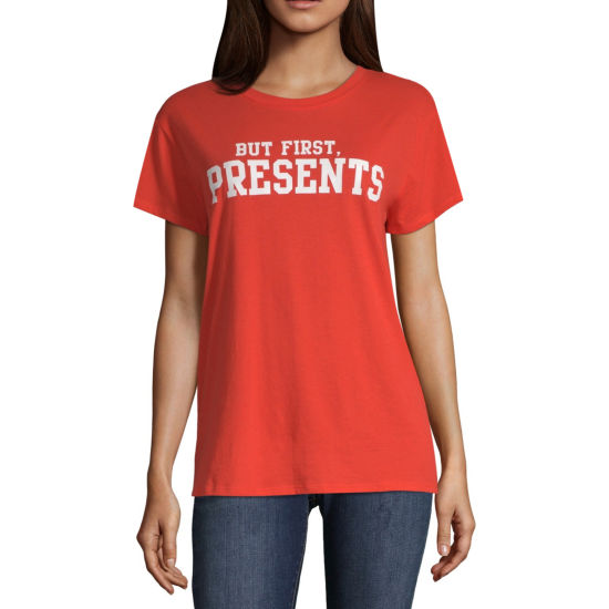 North Pole Trading Co. Short Sleeve Round Neck T-Shirt-Womens Juniors
