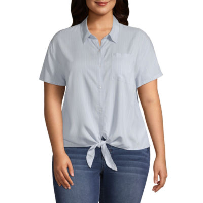 Arizona Womens Short Sleeve Blouse-Juniors Plus