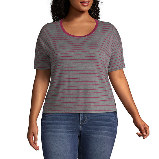 Arizona Short Sleeve Scoop Neck Stripe Tee - Juniors Plus