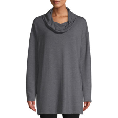 St. John's Bay Active Womens Cowl Neck Long Sleeve Tunic Top