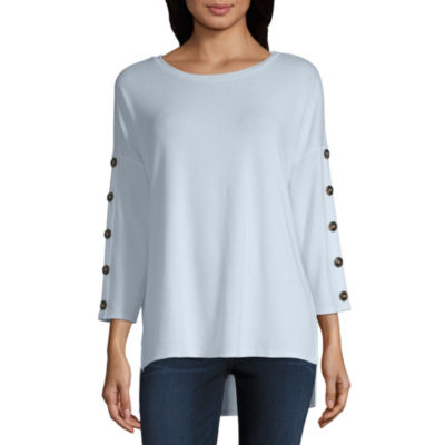 a.n.a Womens Round Neck Long Sleeve Blouse