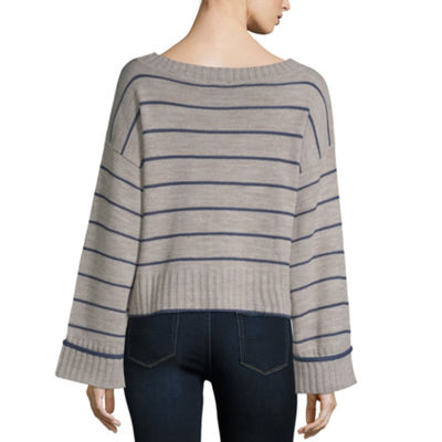 a.n.a Long Sleeve Boat Neck Chevron Pullover Sweater