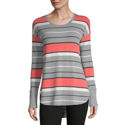 Liz Claiborne-Womens Crew Neck Long Sleeve T-Shirt