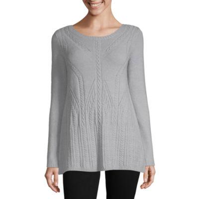 Liz Claiborne Womens Round Neck Long Sleeve Pullover Sweater