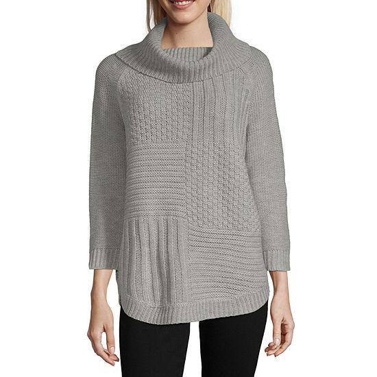 Liz Claiborne Womens Cowl Neck 3/4 Sleeve Pullover Sweater