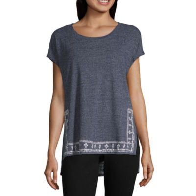 Liz Claiborne Short Sleeve Scoop Neck T-Shirt-Womens