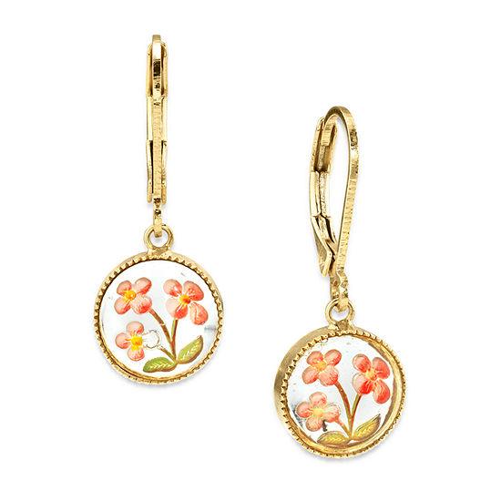 1928 1 Pair 14K Gold Over Brass Drop Earrings