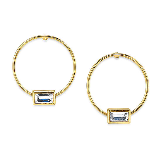 1928 1 Pair 14K Gold Over Brass Hoop Earrings