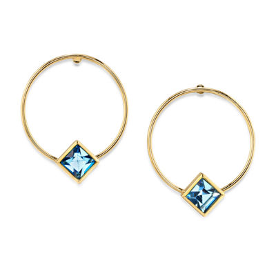 1928 14K Gold Over Brass 1 Inch Hoop Earrings