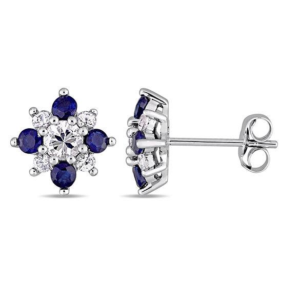 Genuine White Sapphire 14K White Gold 10.4mm Stud Earrings
