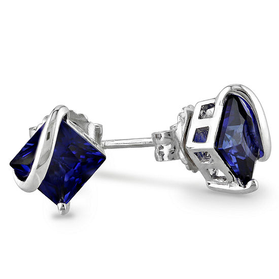Lab Created Blue Sapphire Sterling Silver 9.8mm Stud Earrings