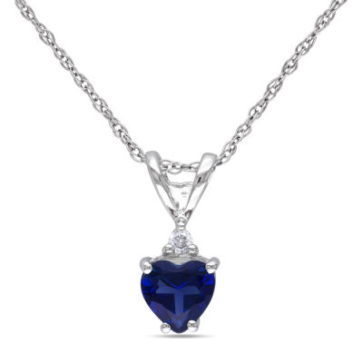 Womens Diamond Accent Lab Created Blue Sapphire 10K White Gold Heart Pendant Necklace