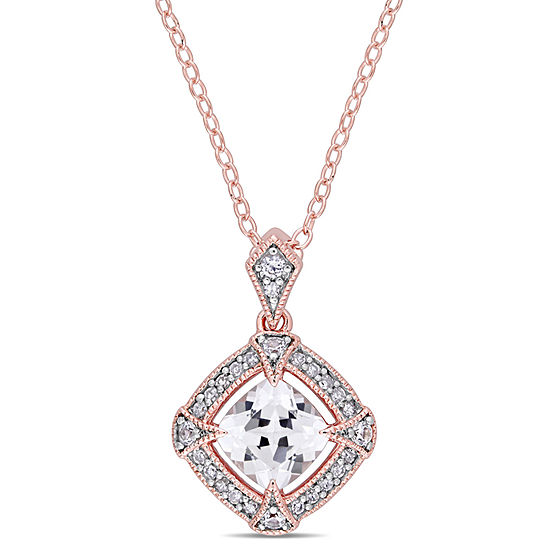 Womens 1/10 CT. T.W. Lab Created White Sapphire 18K Rose Gold Over Silver Pendant Necklace
