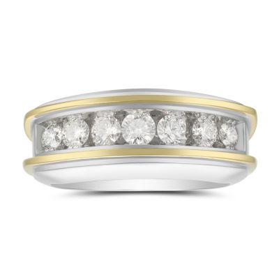 Mens 7.5MM 1 CT. T.W. Genuine White Diamond 10K Two Tone Gold Wedding Band