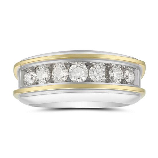 Mens 75mm 1 Ct Tw Genuine White Diamond 10k Two Tone Gold Wedding Band