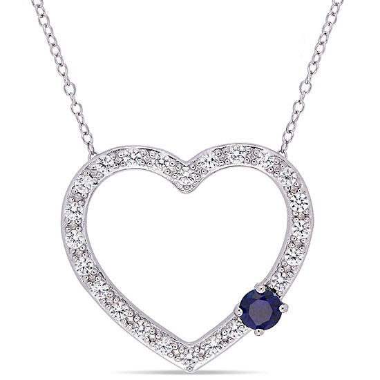 Womens Lab Created Blue Sapphire Sterling Silver Heart Pendant Necklace