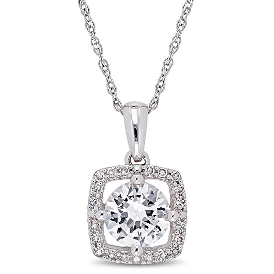 Womens 1/10 CT. T.W. Lab Created White Sapphire 10K White Gold Pendant Necklace
