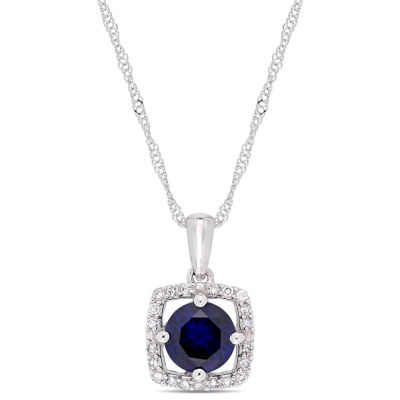 Womens 1/10 CT. T.W. Lab Created Blue Sapphire 10K White Gold Pendant Necklace