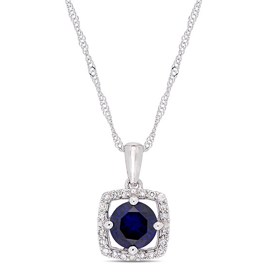 Womens 1 10 Ct Tw Lab Created Blue Sapphire 10k White Gold Pendant Necklace