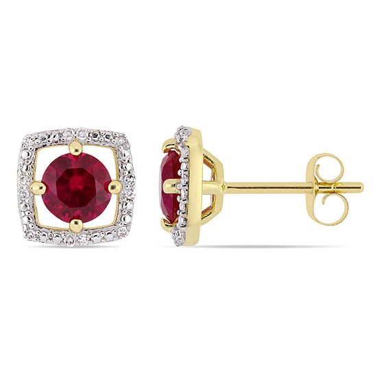 Diamond Accent Lab Created Red Ruby 10K Gold Ear Pins