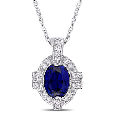 Womens Diamond Accent Lab Created Blue Sapphire 10K White Gold Pendant Necklace