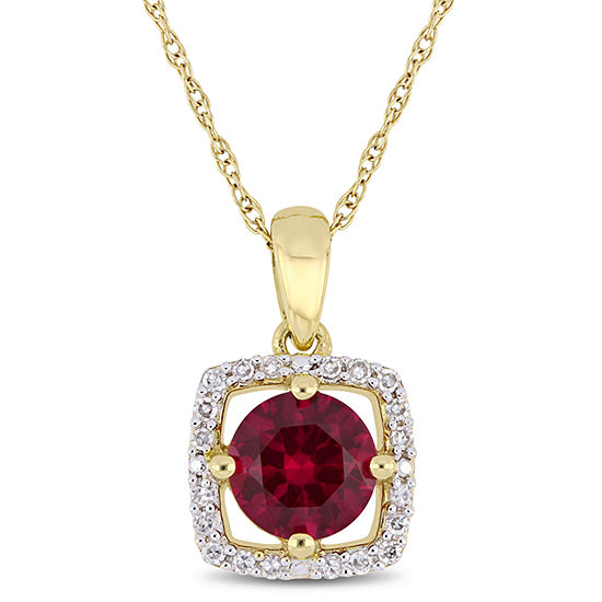 Womens 1/10 CT. T.W. Lab Created Red Ruby 10K Gold Pendant Necklace